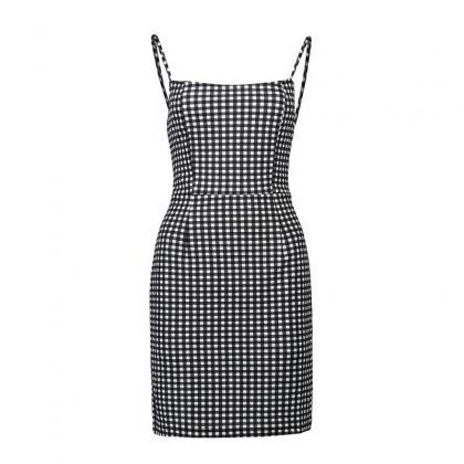 Black White Gingham Short Bodycon D..