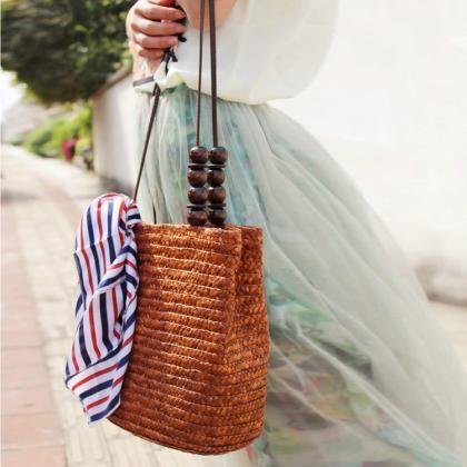 Women's Retro Weaved Straw Bag with..