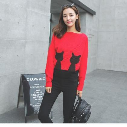 Women Cute Cat Bat Sleeves Sweater ..