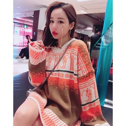 Women Retro Colourful Sweater Loose..