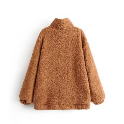 Women Fashion Plush Zipper Coat Loo..