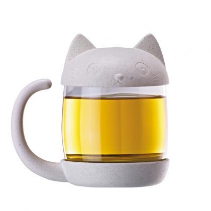 Cute Cartoon Cat Glass Cup Student ..