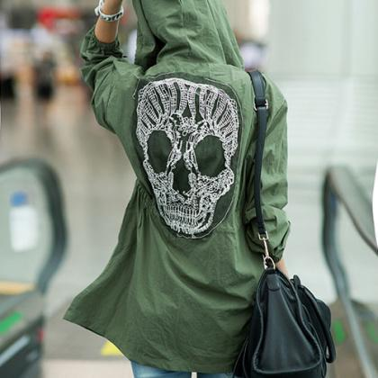 Army Green Lace Skull Detail Back M..
