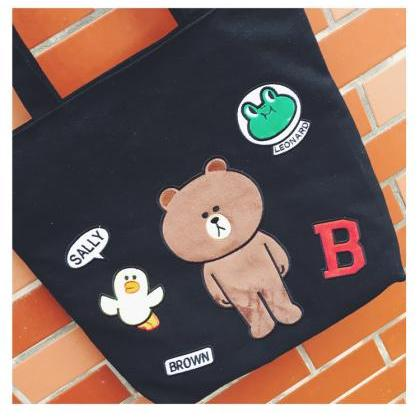 Cute Brown Bear Cartoon Embroidery ..
