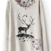Grey Long Sleeve Lace Deer Floral Print Sweatshirt