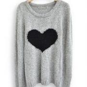 Light Grey Long Sleeve Love Heart Sweater