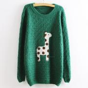 Green Super Adorable Cartoon Giraffe Loose Pullovers Sweater