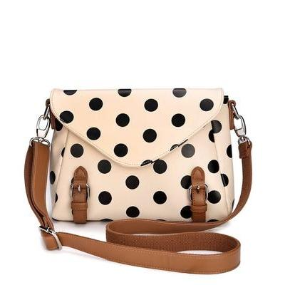 Beige Retro Cute Polka Dot Messenger Bag Shoulder Bag