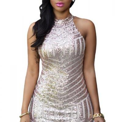 Women Sexy Sparkling Sequin Tank Dress