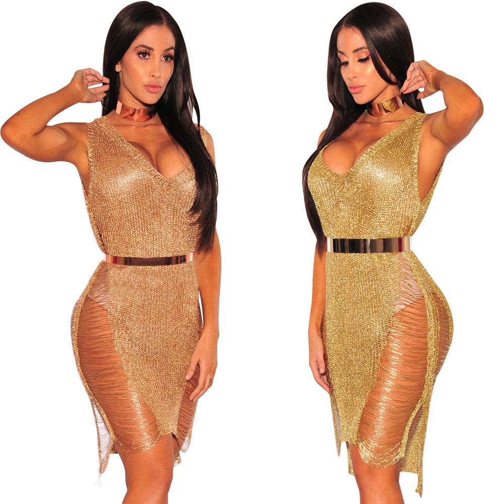 949e4665068 Sexy Deep V Golden Hollow Out Holes Bodycon Dress Fashion Beach Bikini  Cover up Sweater Dress