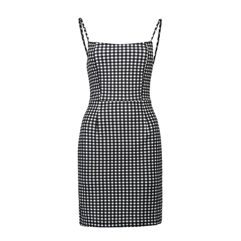 Black White Gingham Short Bodycon Dress