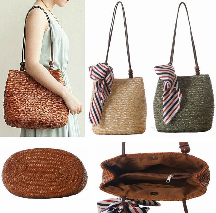 Women's Retro Weaved Straw Bag with Striped Ribbon, Beach Bag