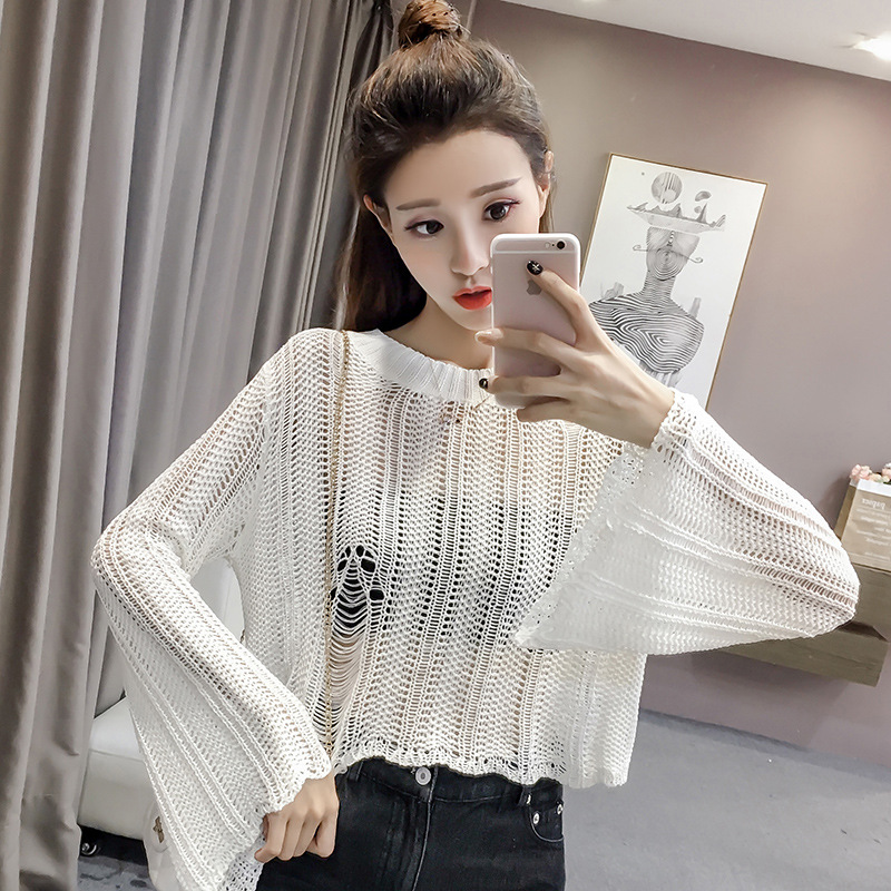 Women Sexy Hole Hollow Out Trumpet Sleeves Sweater Beach Bikini Cover up Fashion Short Sweater