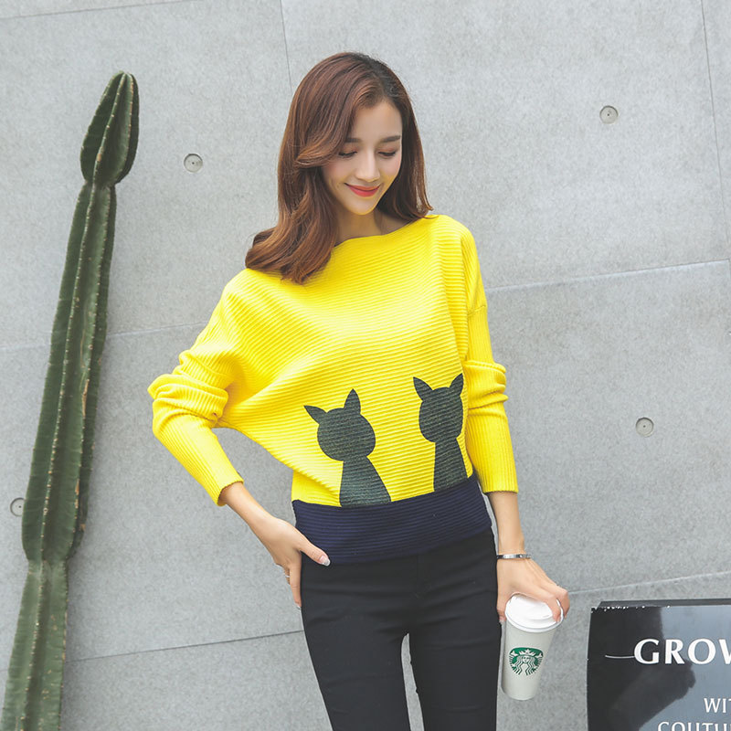 Women Cute Cat Bat Sleeves Sweater Fashion Hit Color Loose Sweater