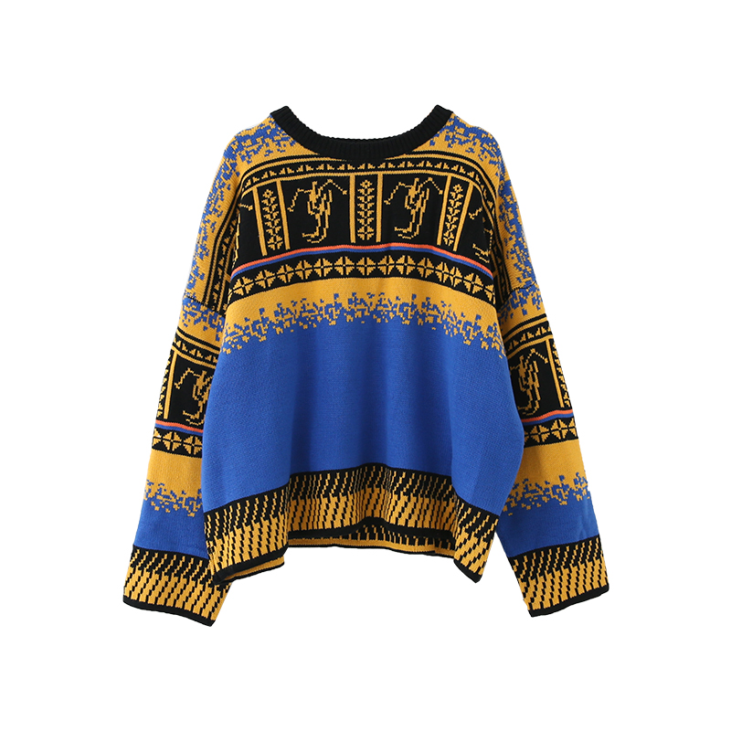 Women Retro Colourful Sweater Loose Printing Student Sweater Coat
