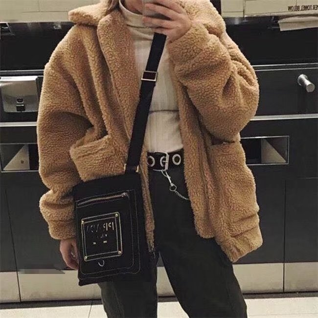 Women Fashion Plush Zipper Coat Loose Vintage Cardigan Jacket Coat