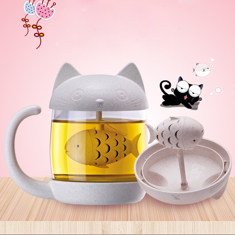 Cute Cartoon Cat Glass Cup Student Office Tea Cup Creative Hand Cup
