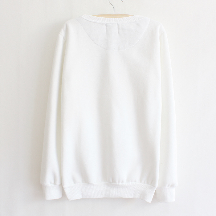 White Thickened Cashmere Doll Head Long Sleeve Sweater on Luulla