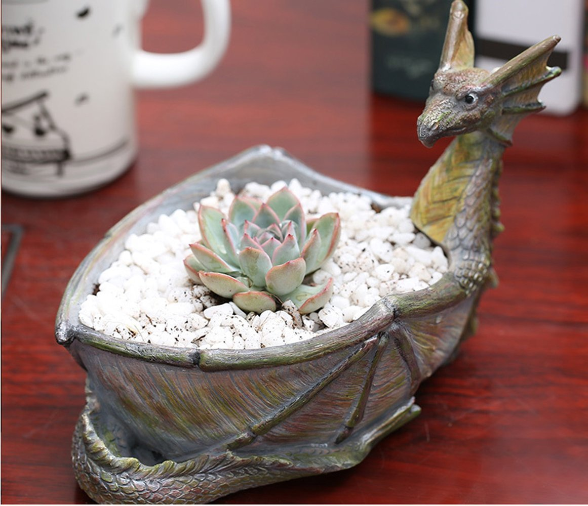 Creative Dragon Shaped Flower Pots Succulent Planters Vase Bowl Animal Retro Home Decoration