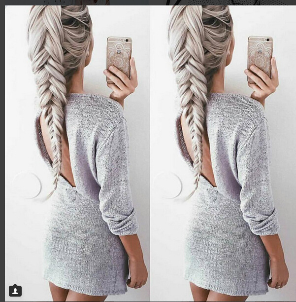 7ae4d549280 Women Leisure Sexy Backless Knitted Sweater Dress on Luulla