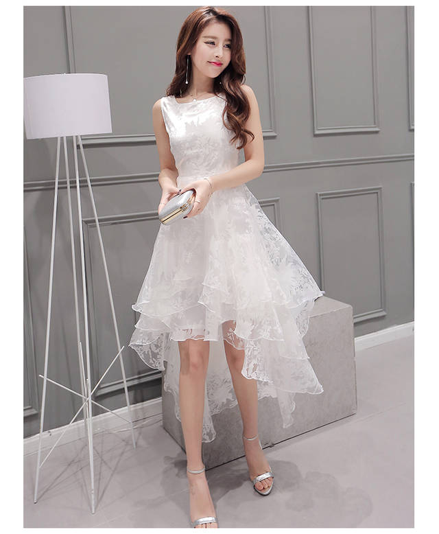 Fashion Lace Embroidered Irregular Dress Wedding Dress Plus Size