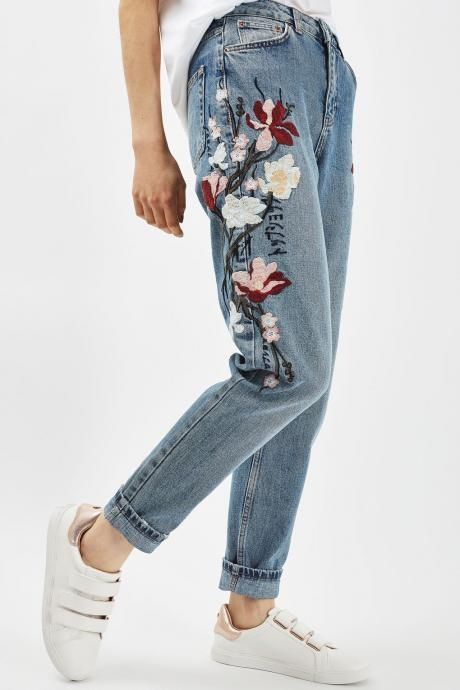 Floral Embroidered Medium-Washed High-Waisted Mom Jeans