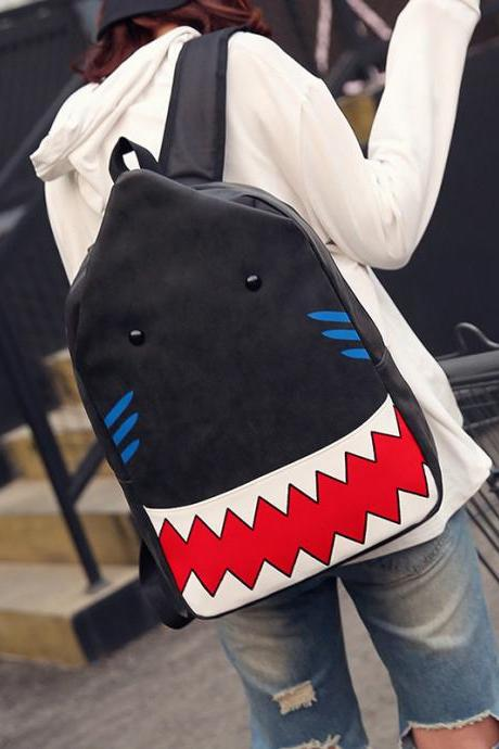 Shark PU Backpack Personality Student Bag Travel Backpack