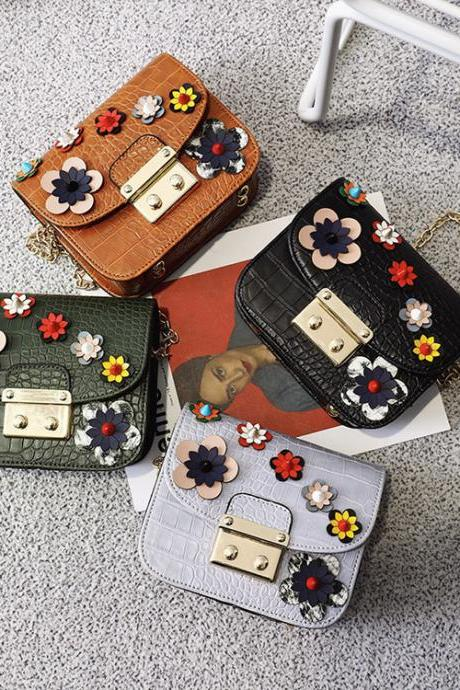 Fashion Retro Manual Flowers Chain Bag PU Handbag