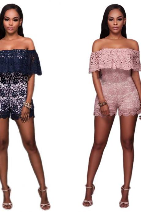 Women Sexy Lace Hollow Flounced Jumpsuit Rompers