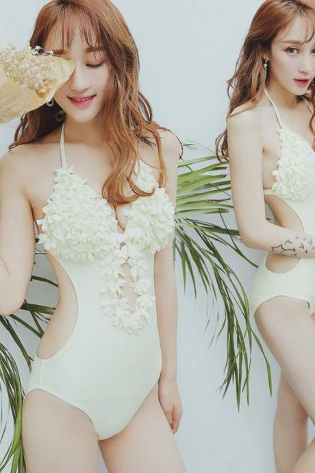 Sexy Flowers Lace Backless Bikini Mermaid Rompers Swimwear One-Piece Swimsuit