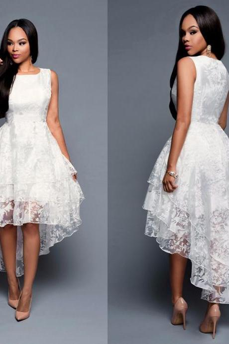 Women Lace Sleeveless Irregular Dress Temperament Banquet Dress Wedding Long Dress