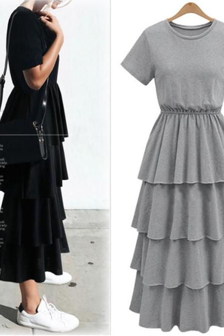Ruffle Tiered Maxi Dress Featuring Crew Neck and Short Sleeves