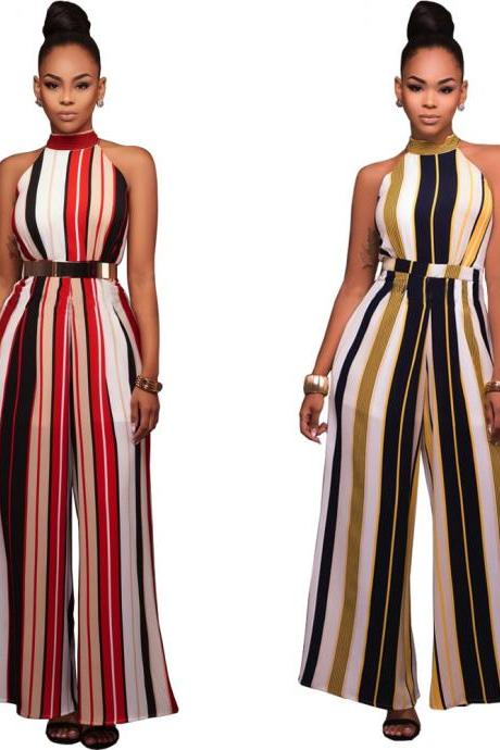 Sexy Stripes Bandage Wide Leg Pants Plue Size Strapless Jumpsuit