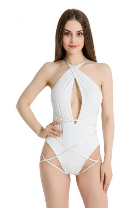 Sexy Deep V Bandage Twist Weave Halter Bikini Bathing Suit One-Piece Swimwear