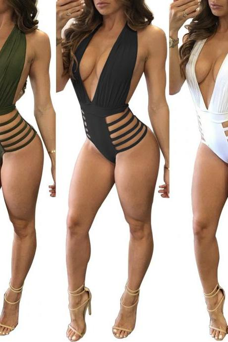 Sexy Deep V Neck Bandage Backless Bikini Rompers Swimwear One-Piece Swimsuit