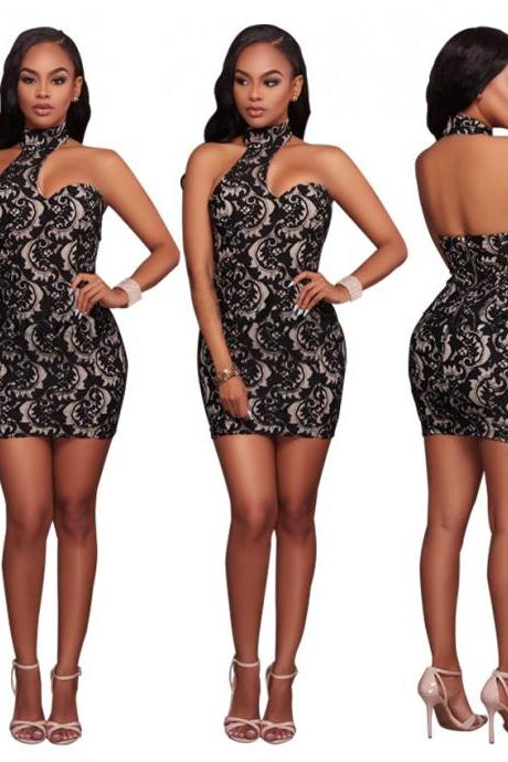 Sexy Lace Hollow Out Halter Backless Bodycon Dress Fashion Wedding Party Dress