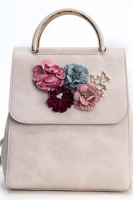 Women Fashion Colorful Flowers PU Backpack Student Shoulder Bag Casual Backpack