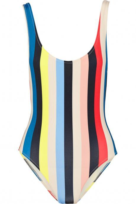 Sexy Rainbow Stripe Swimsuit Backless Multicolor One-Piece Swimwear