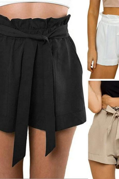 Women Bow Tie High Waist Cotton Shorts Flounced Beach Shorts