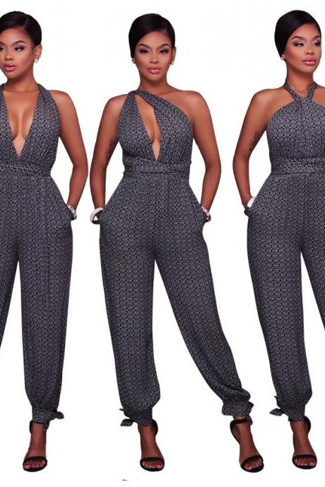 Women Deep V Halter Plaid Jumpsuit Backless Rompers