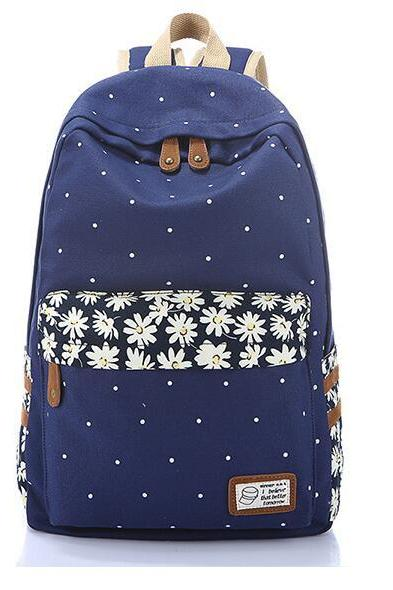 Women Fashion Floral Prints Canvas Backpack Student Backpack Travel Backpack