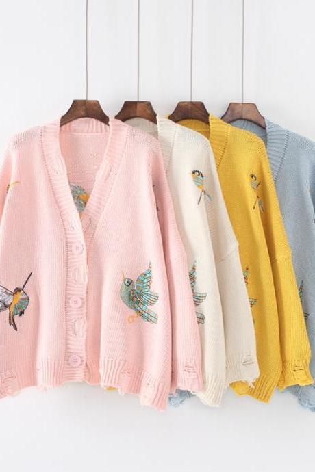 Women Bird Embroidery Deep V Neck Loose Sweater Fashion Hole Cardigan Sweater Coat