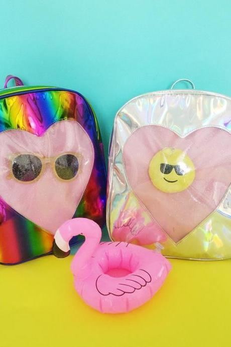 Fashion Laser Love Shape Children Backpack Cute Rainbow Student Backpack