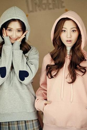 Women Heart Embroidery Sweater Hooded Cute Loose Sweatshirt