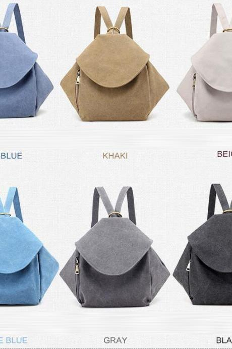 Women Fashion Retro Canvas Backpack Student Shoulder Bag Casual Backpack