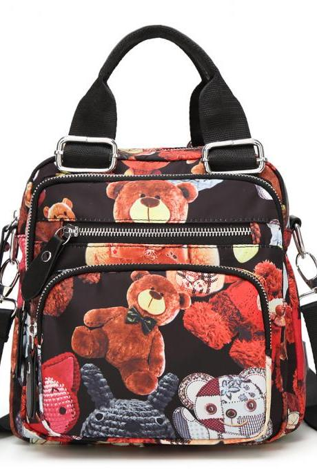 Fashion Bear Printing Multi-Functional Backpack Student Bag Casual Handbag Travel Backpack