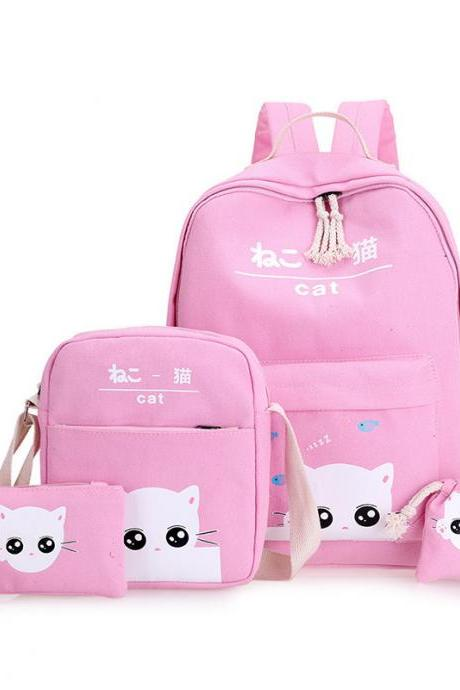 Fashion Four-piece Hot-Selling Student Backpack Cute Cat Casual Handbag Travel Backpack
