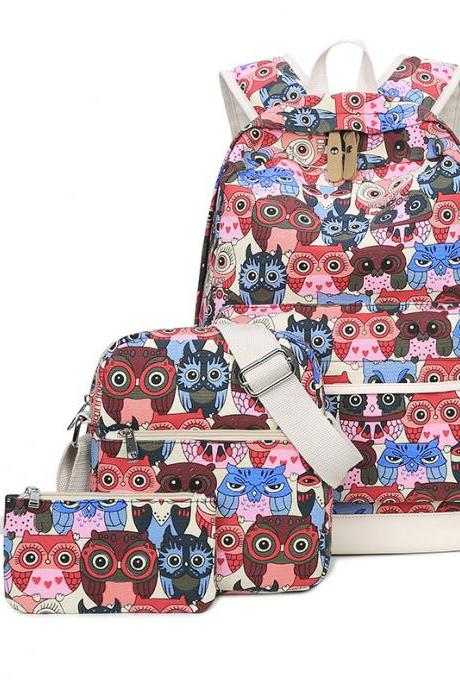 Fashion There-piece Student Backpack Cute Owl Printing School Bag Casual Handbag Travel Backpack
