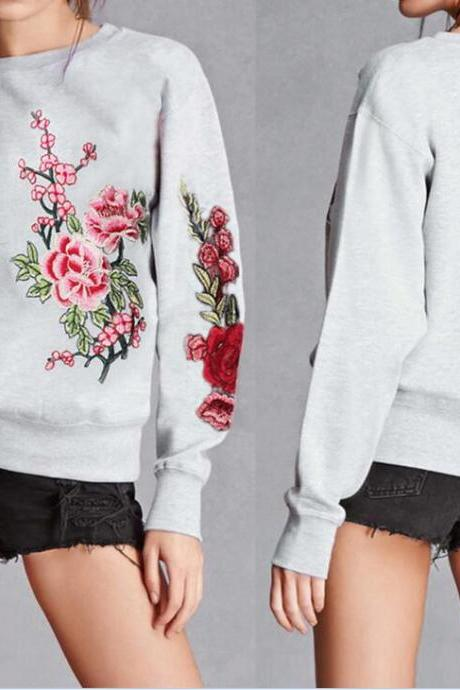 Women Embroidery Long Sleeves Sweatshirt Fashion Exquisite Flowers Sweatshirt