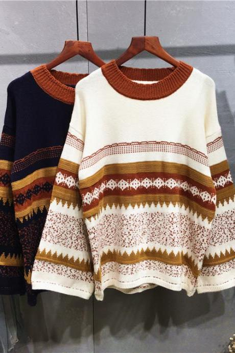 Women Hit Color Loose Round Collar Sweater Fashion Retro National Wind Sweater